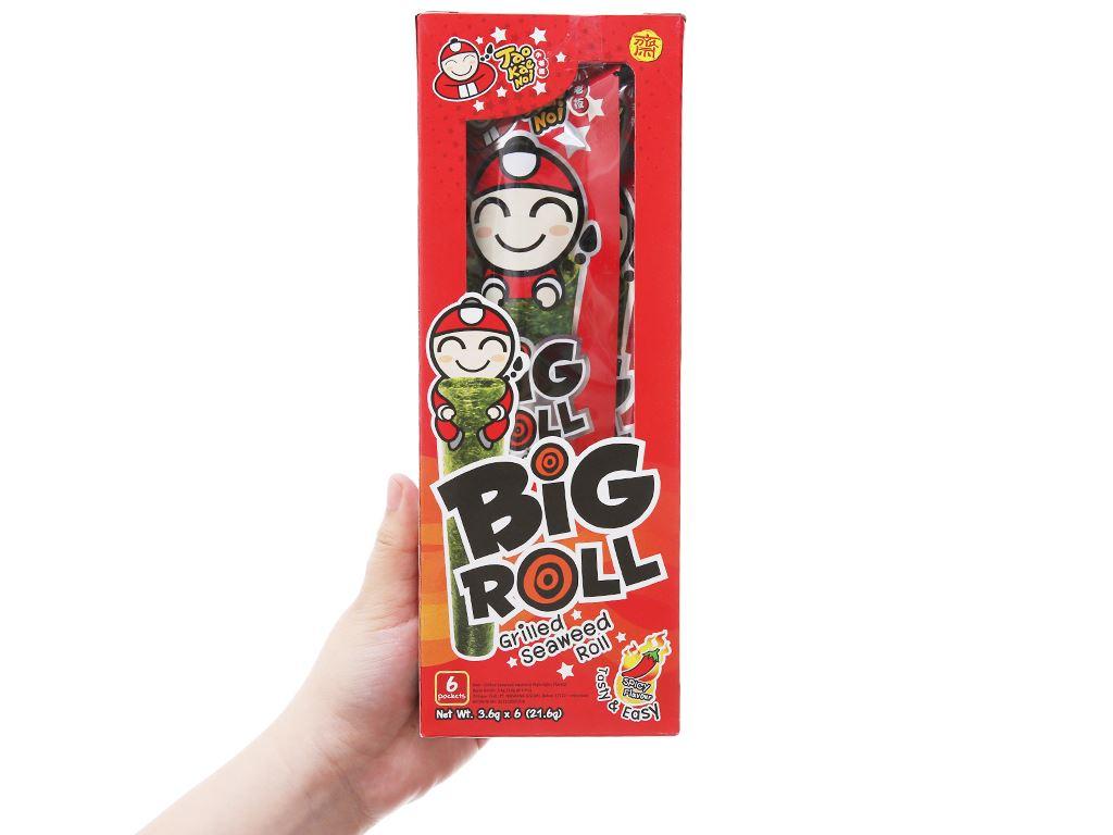 Snack rong biển nướng vị cay Tao Kae Noi Big Roll hộp 21.6g 3