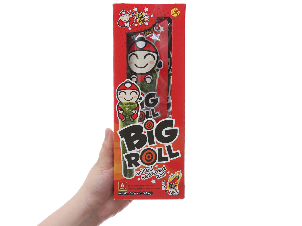 Snack rong biển nướng giòn Tao Kae Noi Big Roll Vị cay 21.6g 3