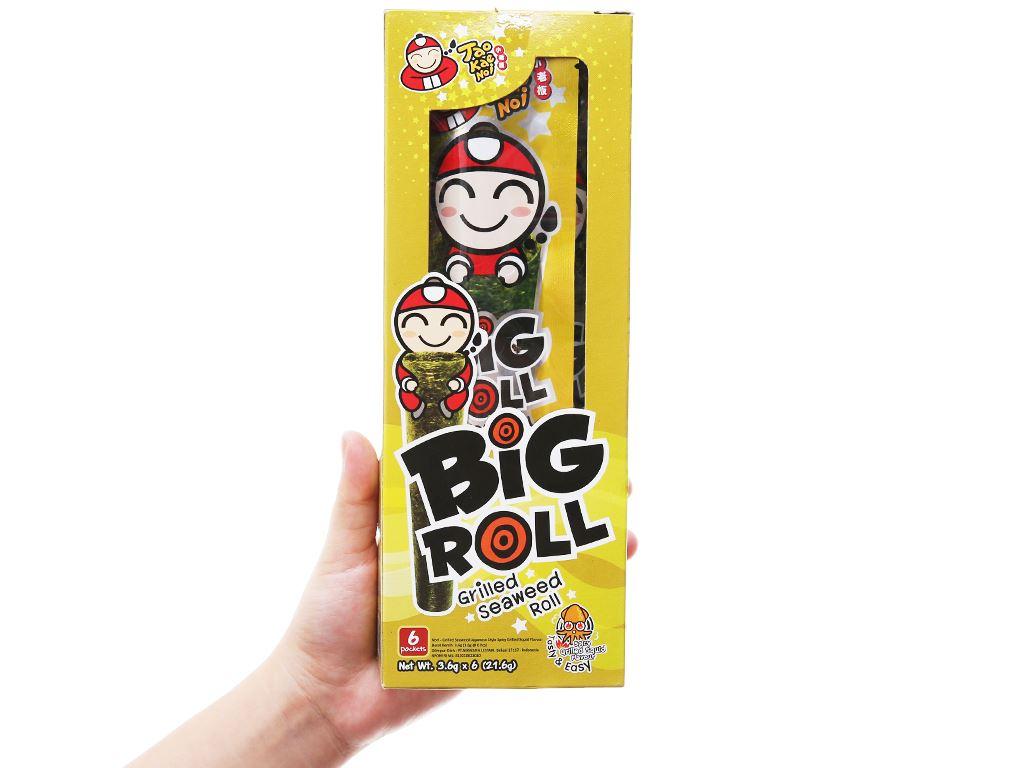 Snack rong biển nướng vị mực Tao Kae Noi Big Roll hộp 21.6g 4