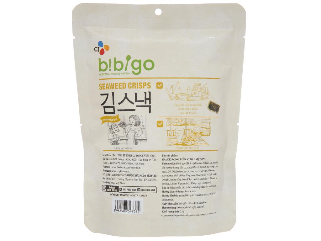 Snack rong biển vị bắp mật ong Bibigo gói 25g 2