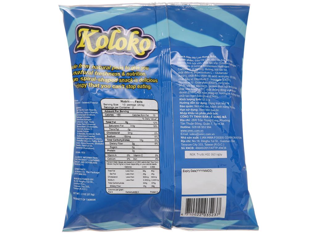 Snack đậu Hà Lan vị rong biển Koloko gói 57g 2
