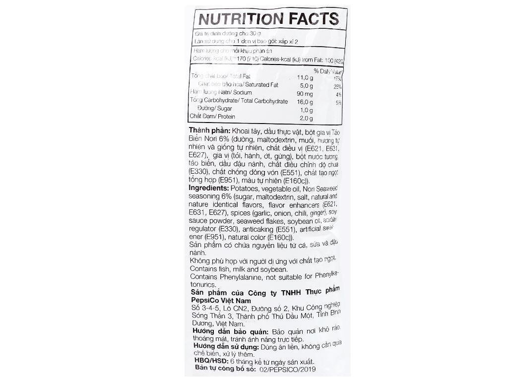 Snack khoai tây vị tảo biển nori Lay's gói 52g 3