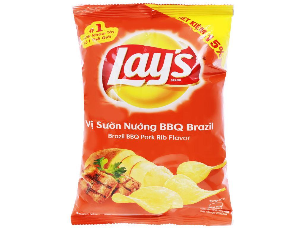 Snack khoai tây vị sườn nướng BBQ Brazil Lay's gói 52g 1