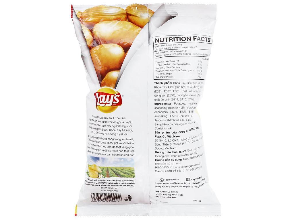 Snack khoai tây vị tự nhiên Classic Lay's gói 52g 2