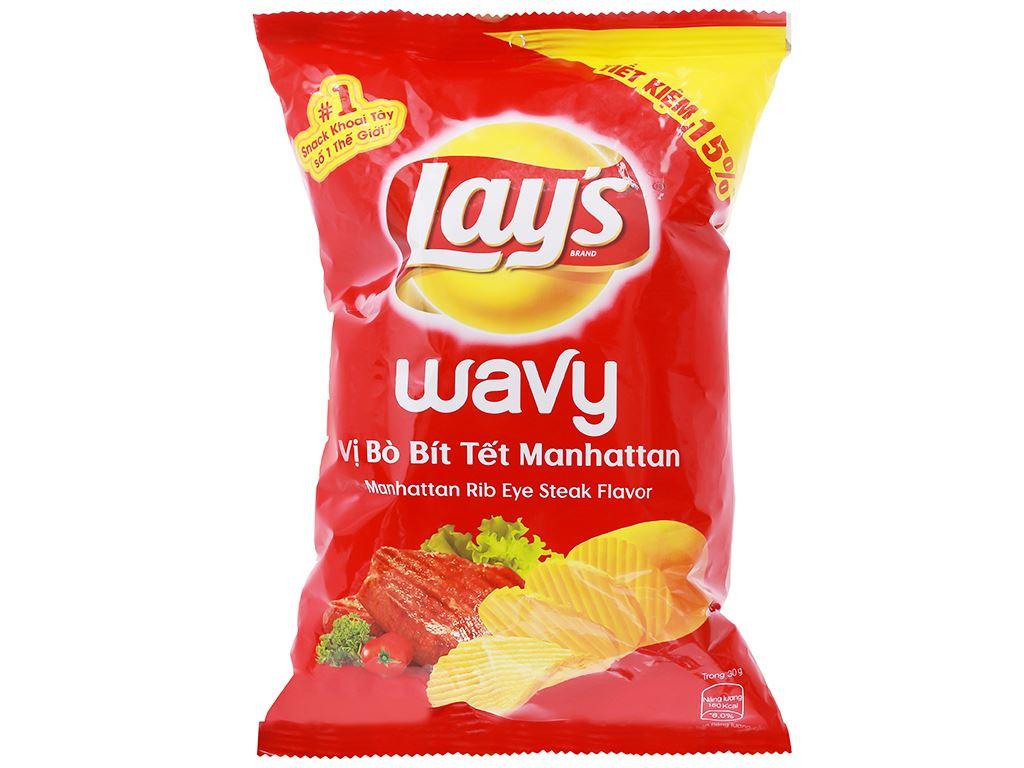 Snack khoai tây vị bò bít tết Manhattan Lay's Wavy gói 52g 1