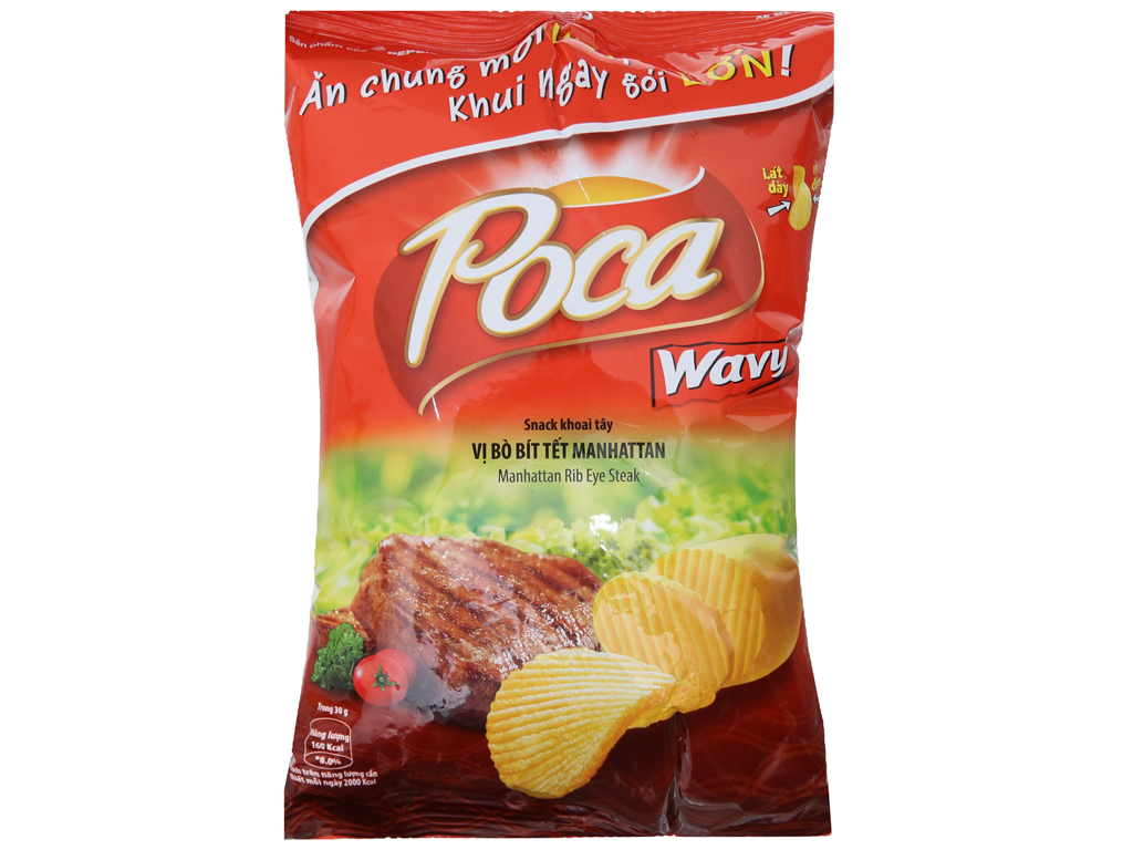 Snack khoai tây vị bò bít tết Manhattan Poca Wavy gói 52g 2