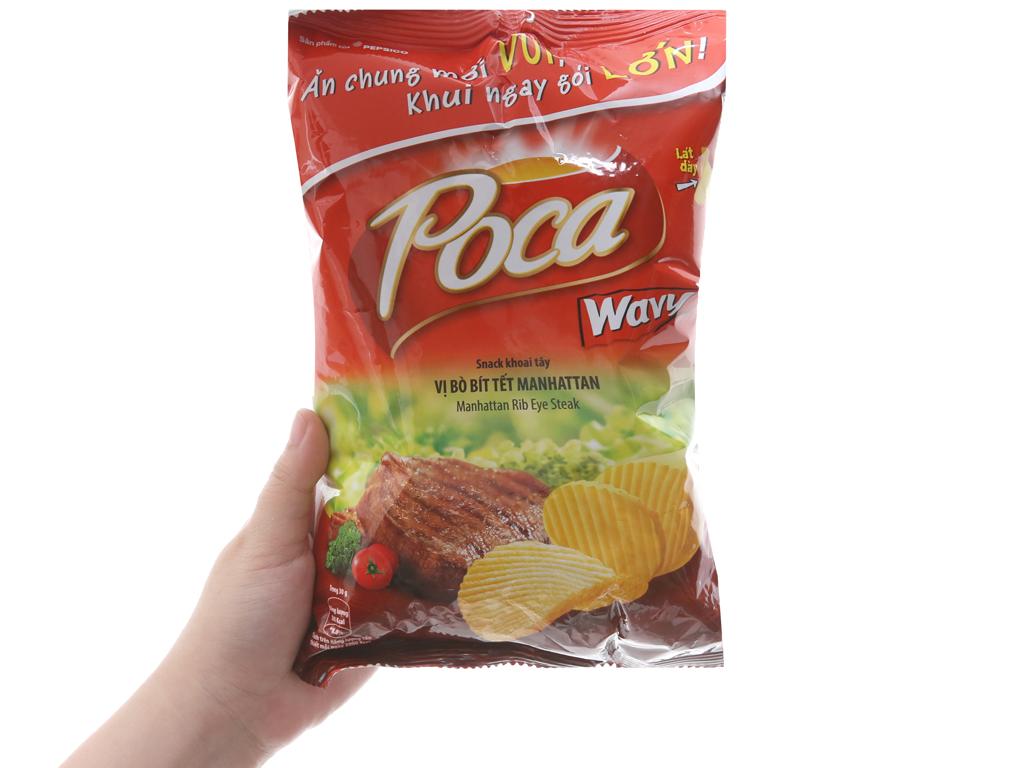 Snack khoai tây vị bò bít tết Manhattan Poca Wavy gói 52g 5