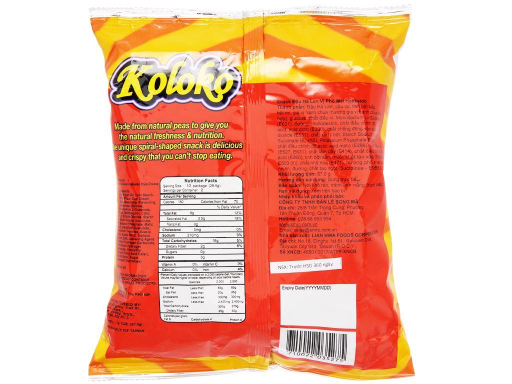 Snack đậu Hà Lan vị phô mai Koloko gói 57g 6