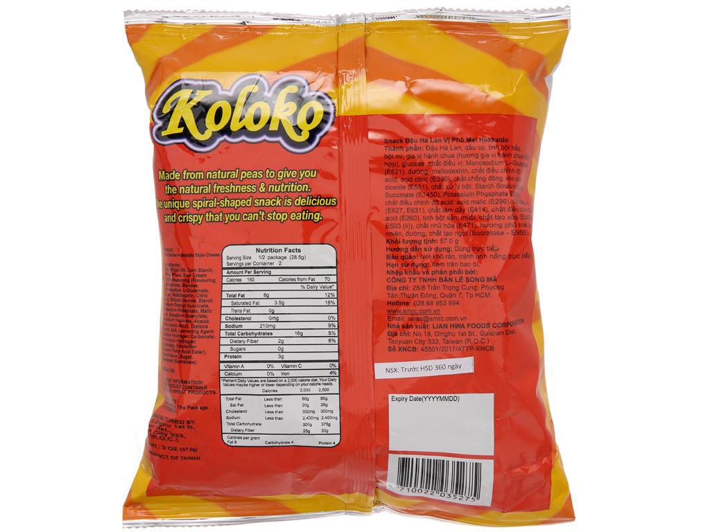 Snack đậu Hà Lan vị phô mai Koloko gói 57g 2