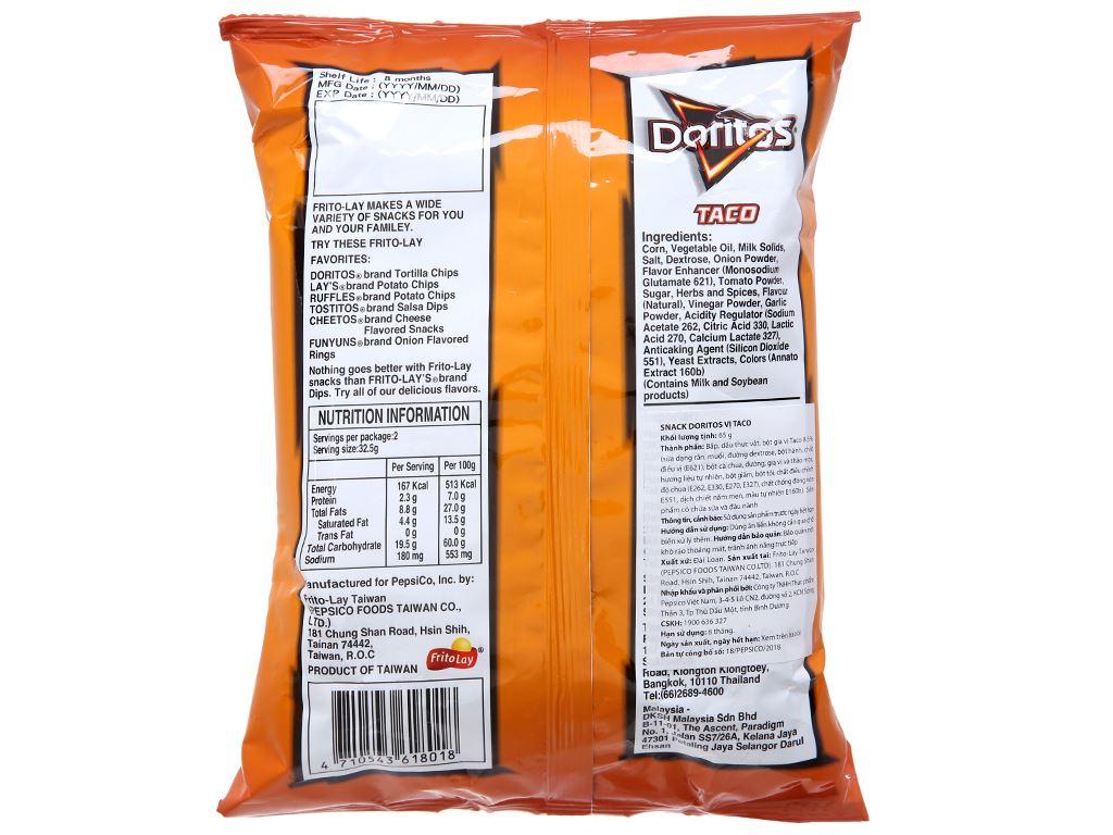 Snack vị Taco Doritos gói 65g 2