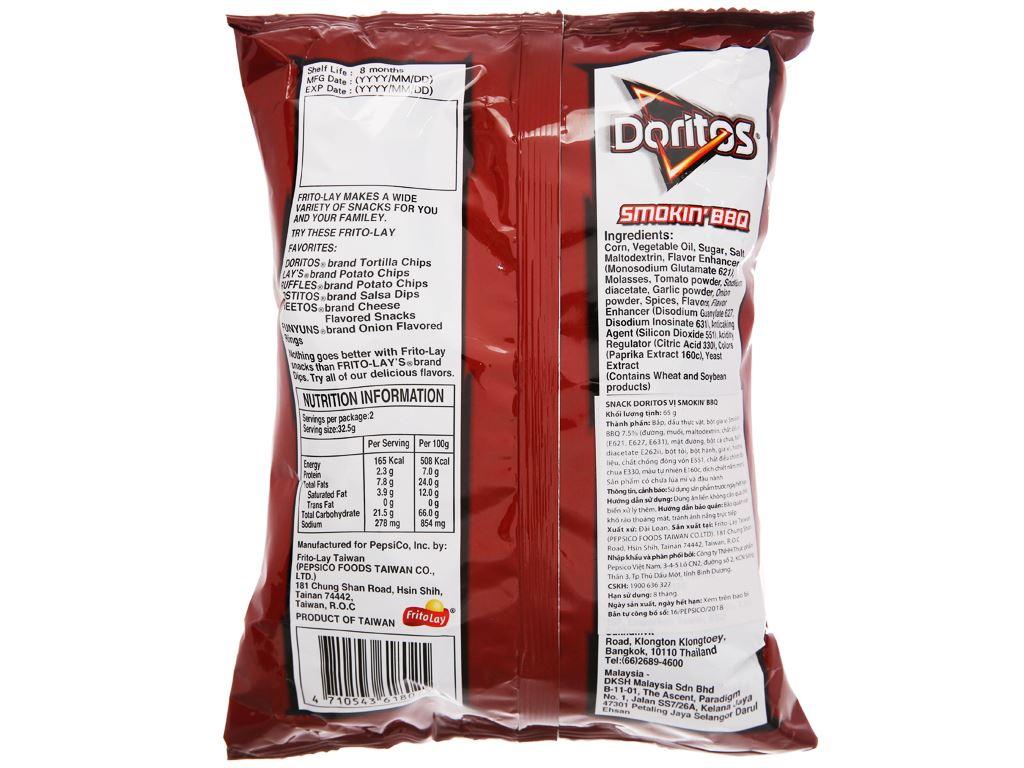Snack Doritos vị Smokin' BBQ gói 65g 2
