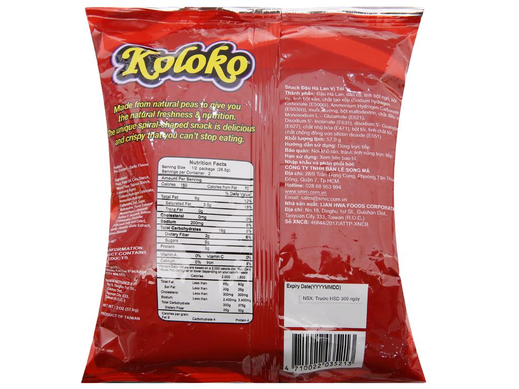 Snack đậu Hà Lan vị tỏi Koloko gói 57g 2