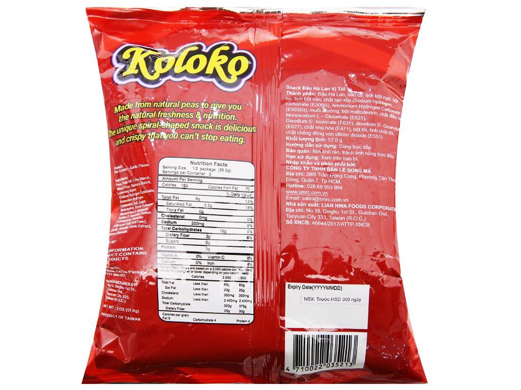 Snack đậu Hà Lan vị tỏi Koloko gói 57g 6