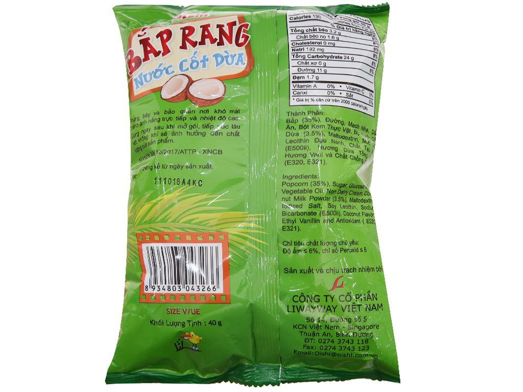 Snack bắp rang vị nước cốt dừa Oishi gói 40g 2