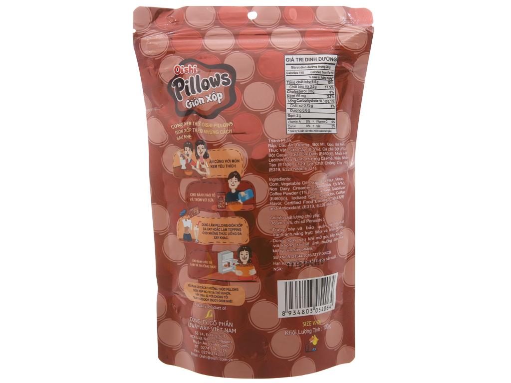 Snack nhân cà phê sữa Oishi Pillows gói 100g 2