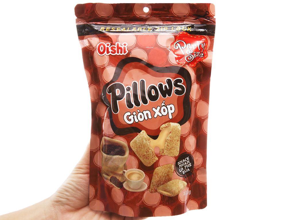 Snack nhân cà phê sữa Oishi Pillows gói 100g 3