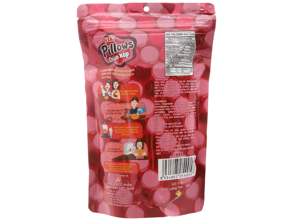 Snack nhân kem đậu đỏ Oishi Pillows gói 100g 2