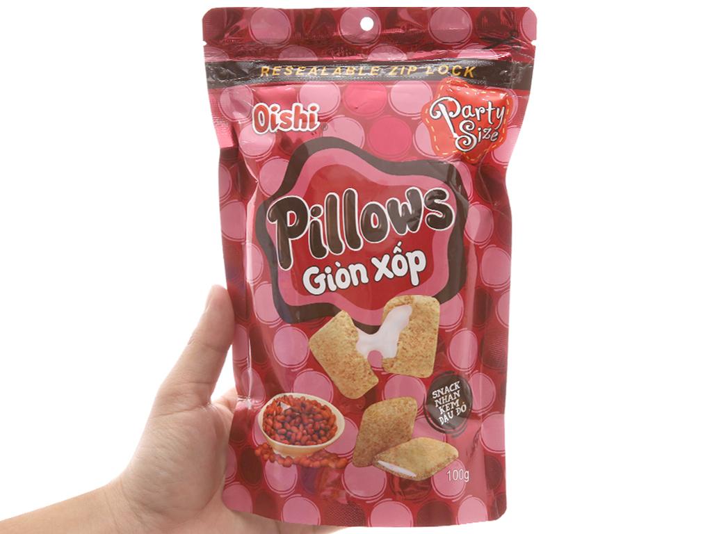 Snack nhân kem đậu đỏ Oishi Pillows gói 100g 3