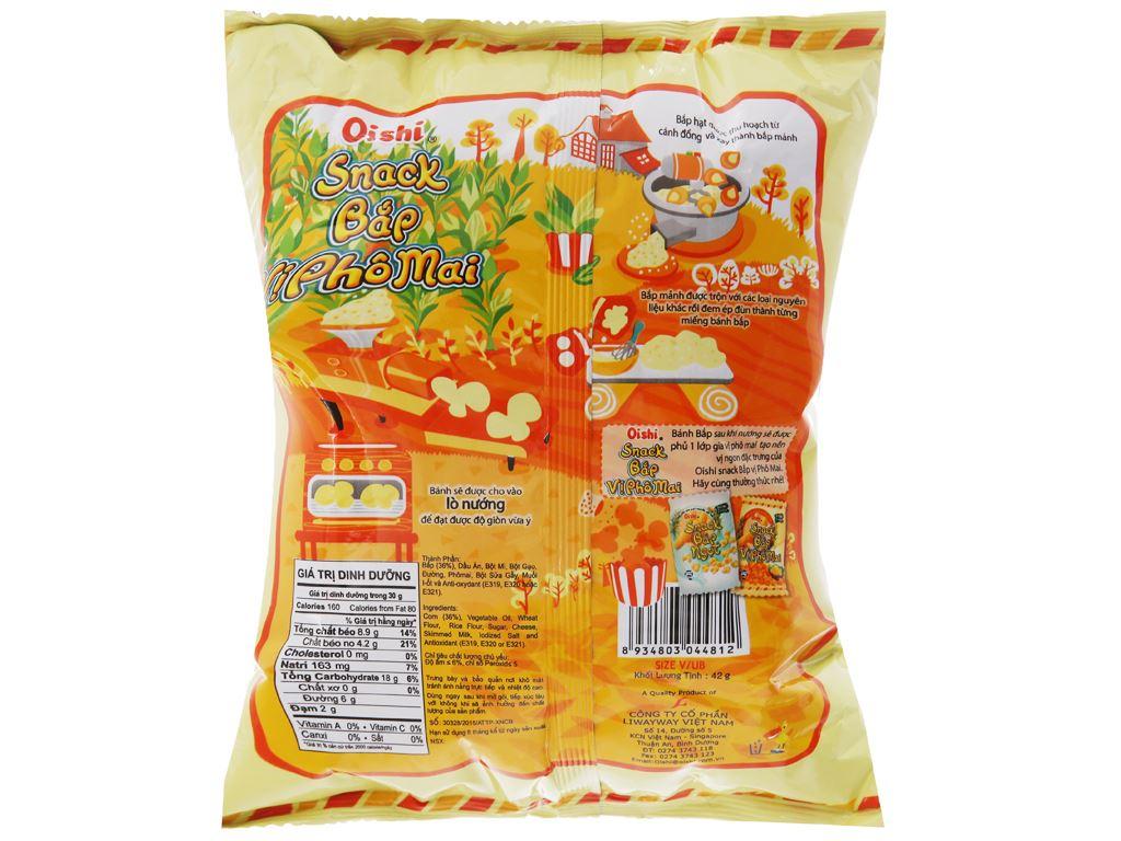 Snack bắp vị phô mai Oishi gói 40g 2