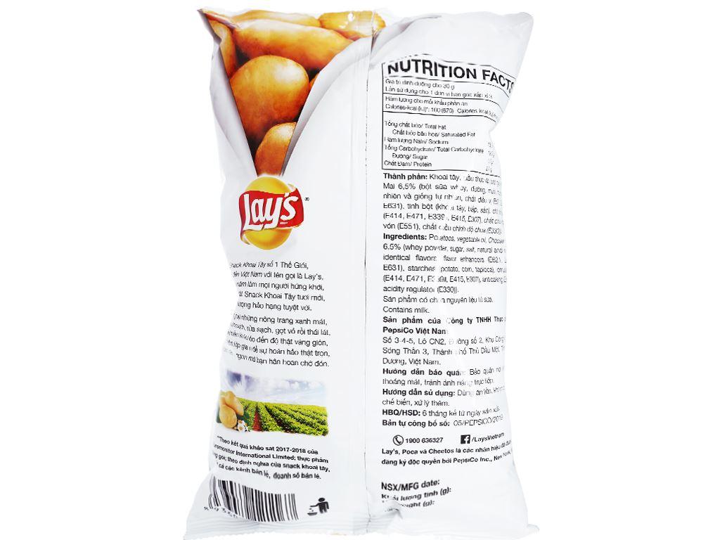 Snack khoai tây vị phô mai cheddar Lay's Wavy gói 95g 2