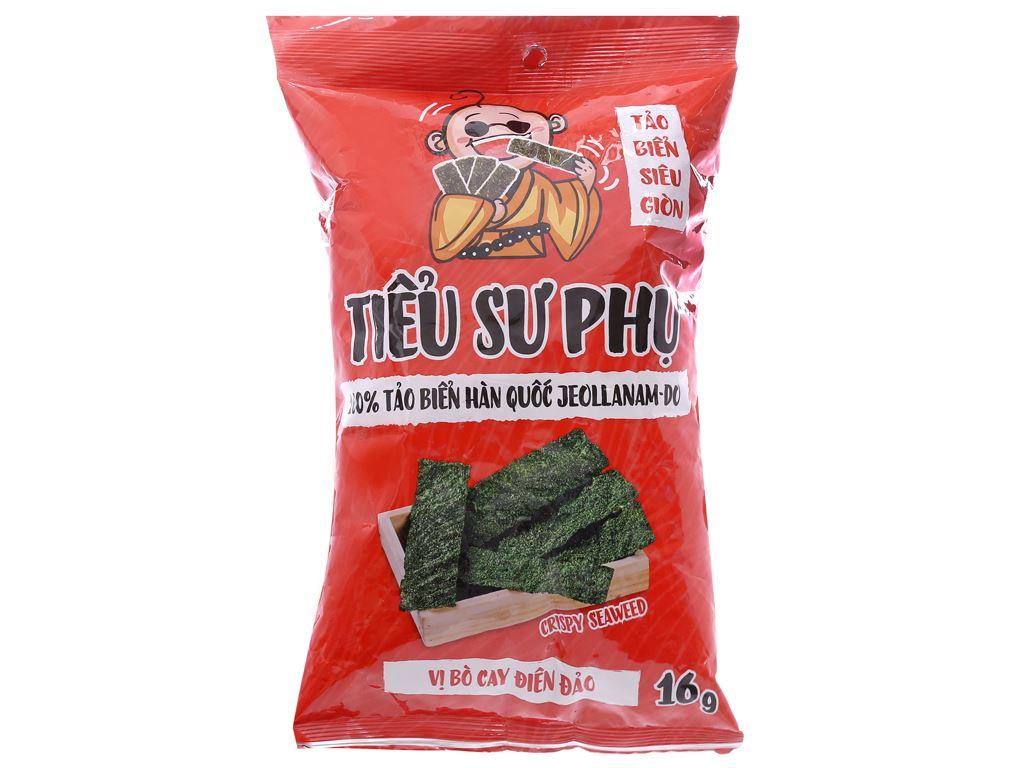 Snack tảo biển siêu giòn vị bò cay điên đảo Tiểu Sư Phụ gói 16g 1