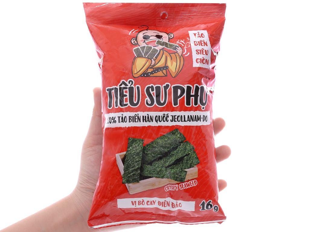 Snack tảo biển siêu giòn vị bò cay điên đảo Tiểu Sư Phụ gói 16g 3