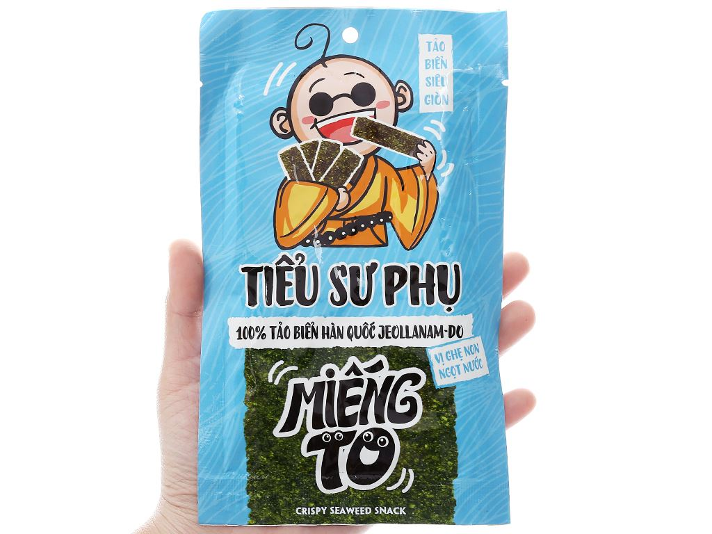 Snack tảo biển siêu giòn Tiểu Sư Phụ vị ghẹ non ngọt nước hộp 48g (12 gói) 4