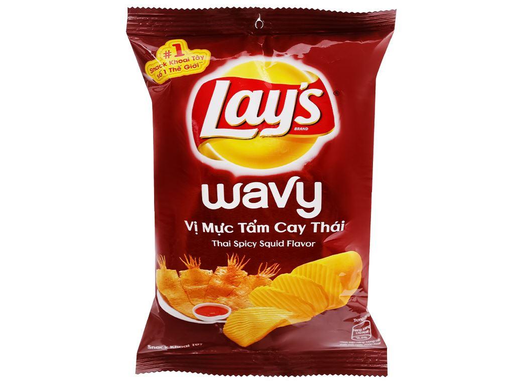 Snack khoai tây vị mực tẩm cay thái Lay's Wavy gói 29g 2