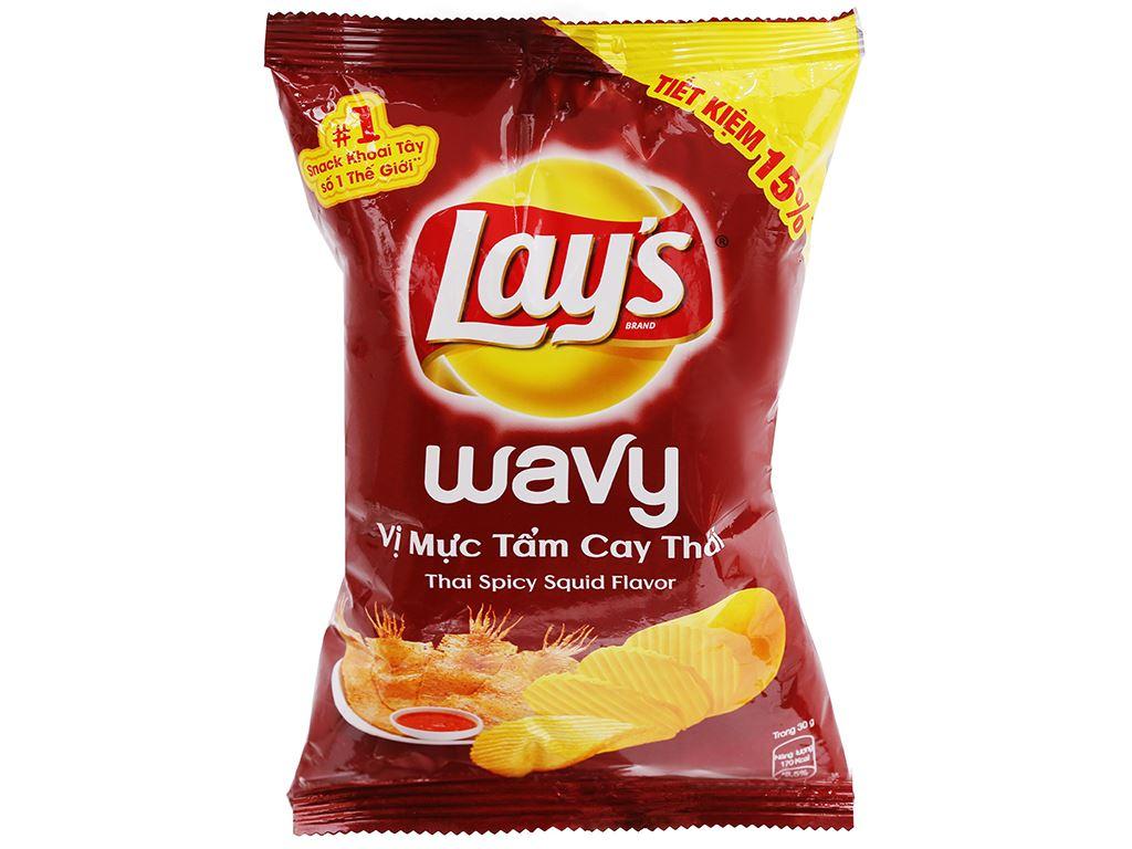 Snack khoai tây vị mực tẩm cay Thái Lay's Wavy gói 56g 1