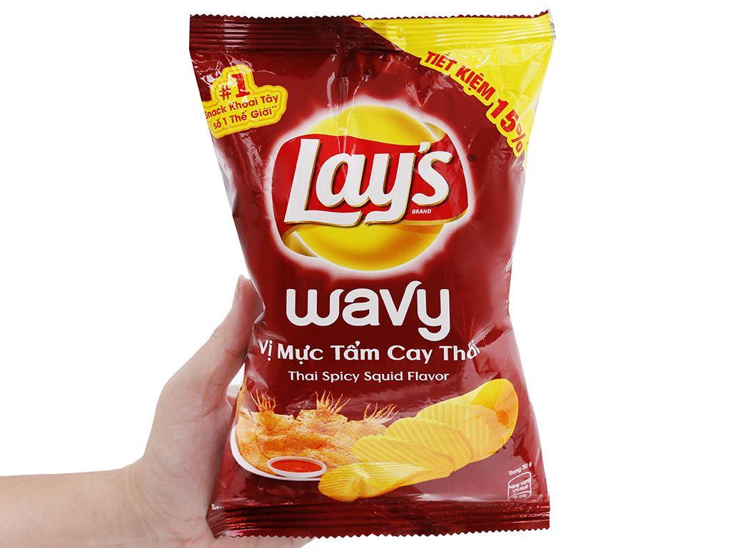 Snack khoai tây vị mực tẩm cay Thái Lay's Wavy gói 56g 4