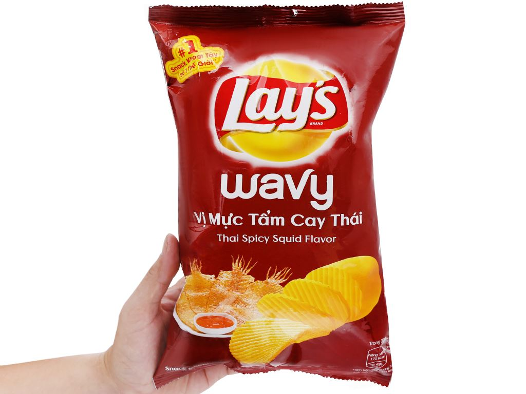 Snack khoai tây vị mực tẩm cay Thái Lay's Wavy gói 95g 5