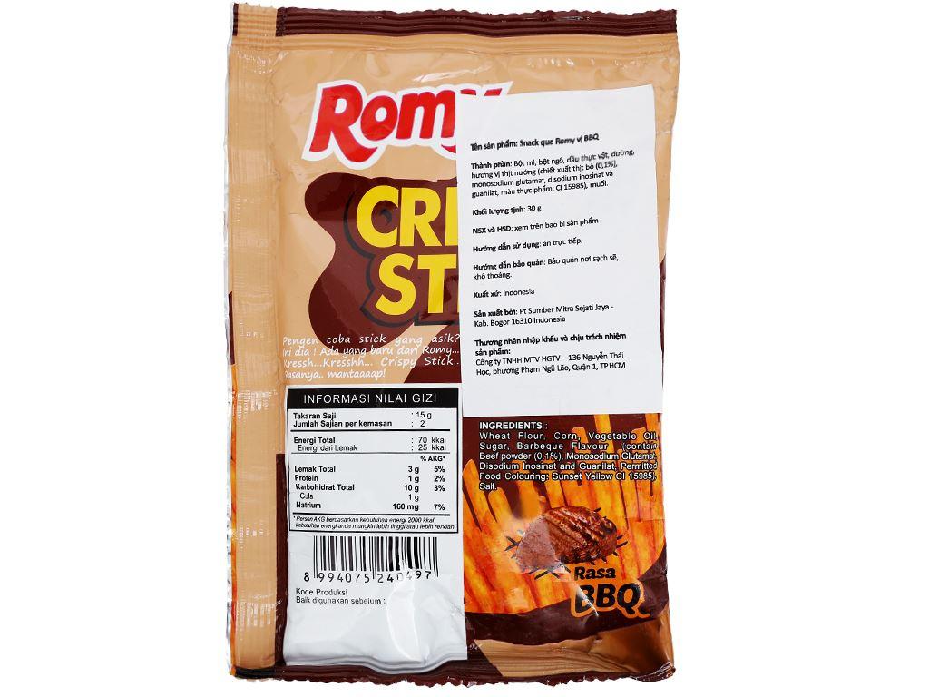 Snack que vị BBQ Romy Crispy Stick gói 30g 3