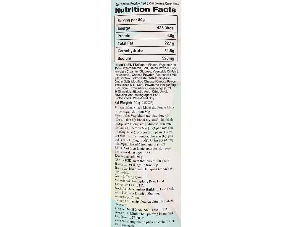 Snack khoai tây Peke Potato Chips vị kem chua và hành tây lon 80g 5