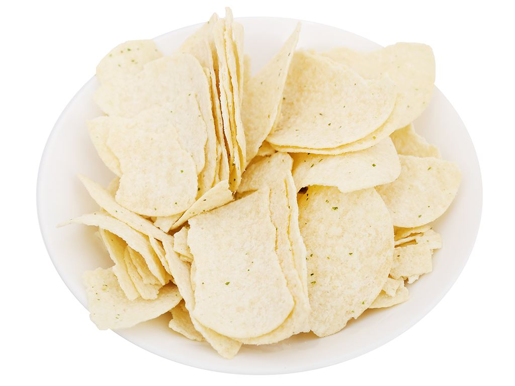 Snack khoai tây Peke Potato Chips vị kem chua và hành tây lon 80g 7