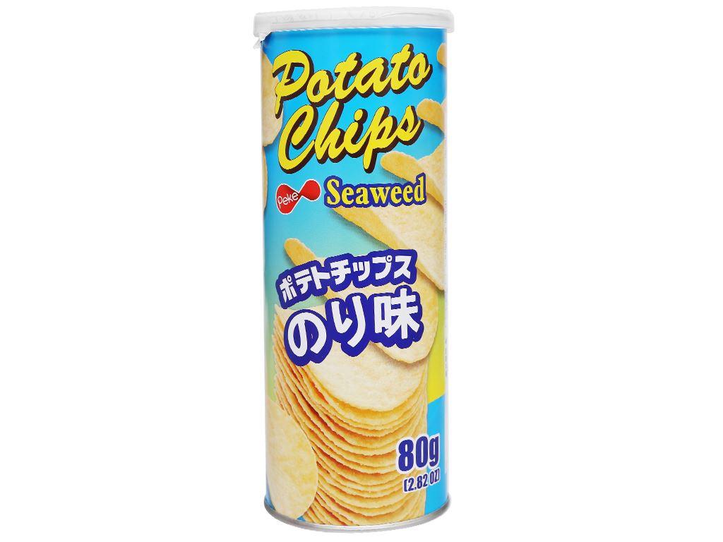 Snack khoai tây vị rong biển Peke Potato Chips lon 80g 2