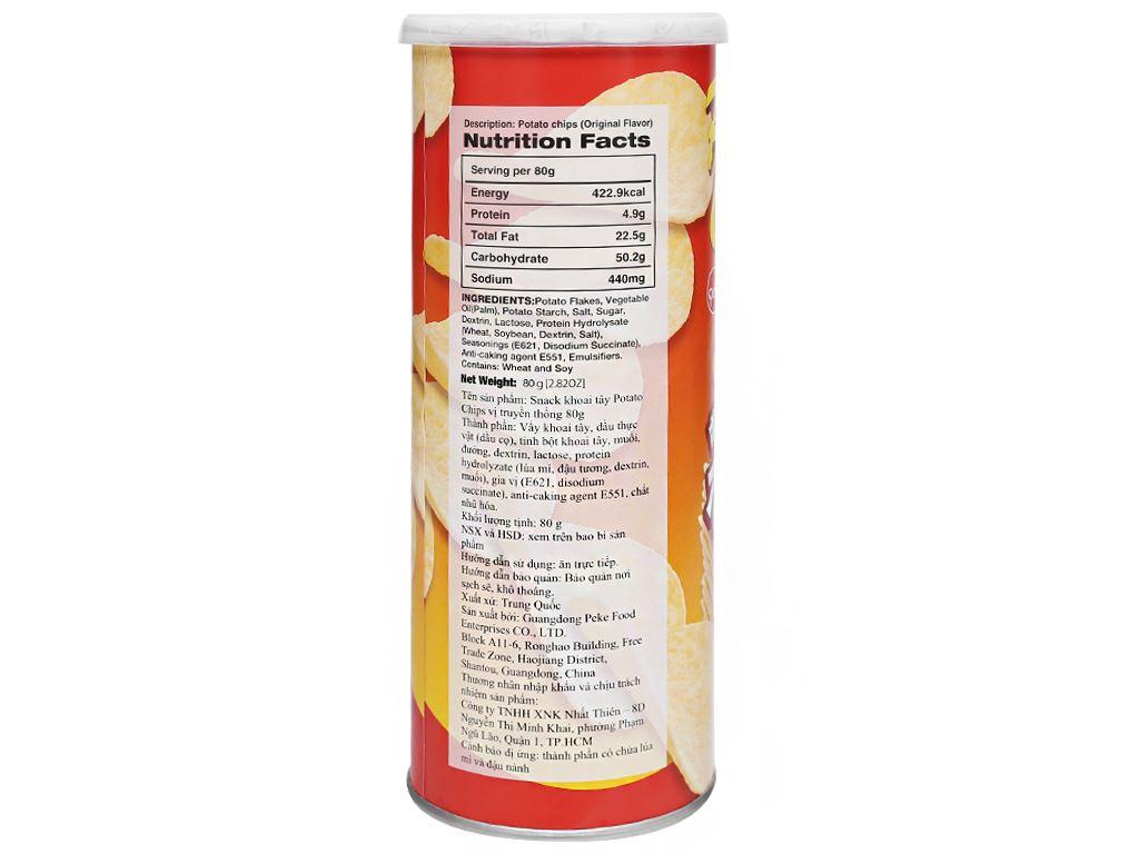 Snack khoai tây vị truyền thống Peke Potato Chips lon 80g 4