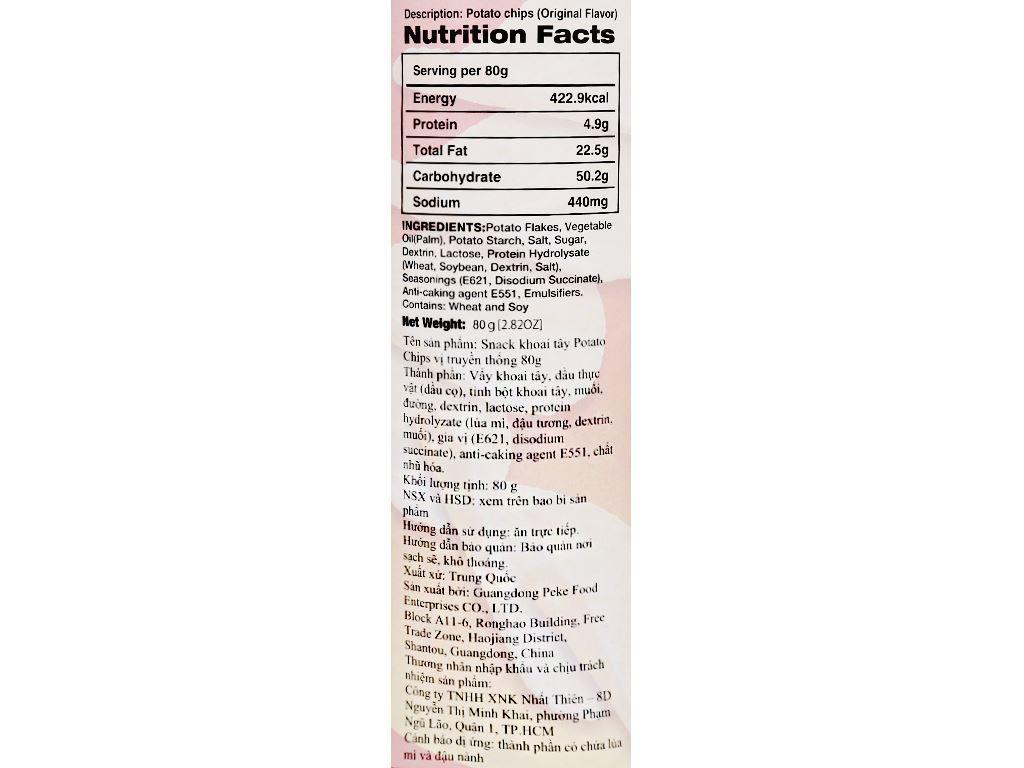Snack khoai tây vị truyền thống Peke Potato Chips lon 80g 5