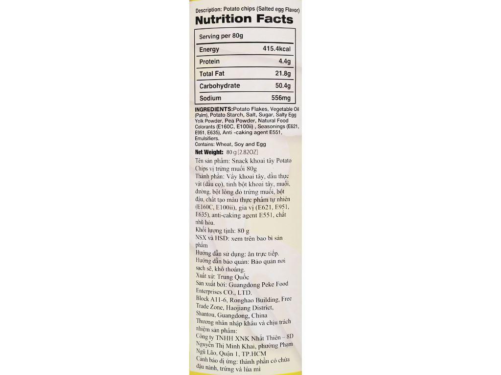 Snack khoai tây vị trứng muối Peke Potato Chips lon 80g 5