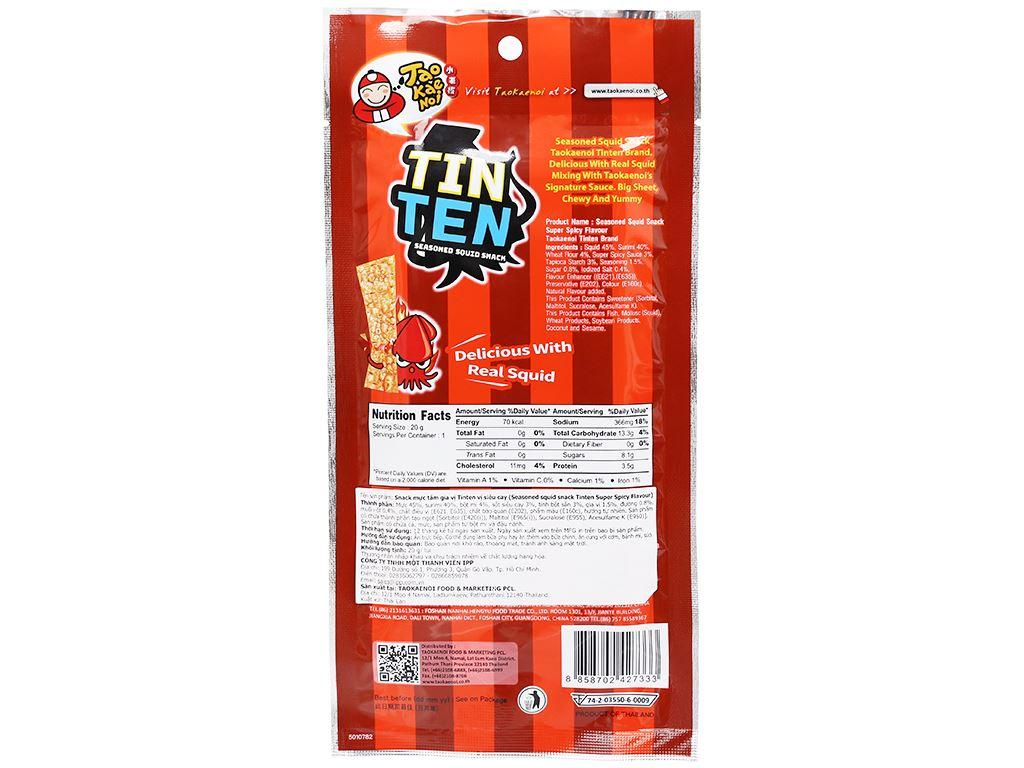 Snack mực tẩm gia vị siêu cay Tao Kae Noi Tinten gói 20g 2