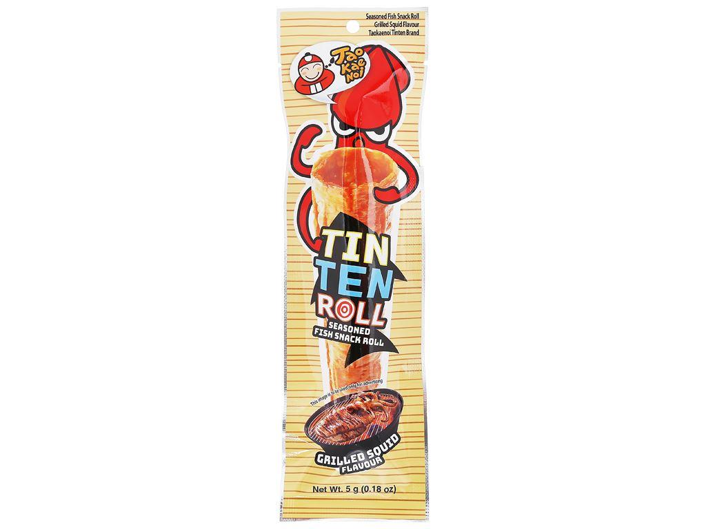 Snack cá tẩm gia vị hương mực nướng giòn Tao Kae Noi Tinten gói 5g 1