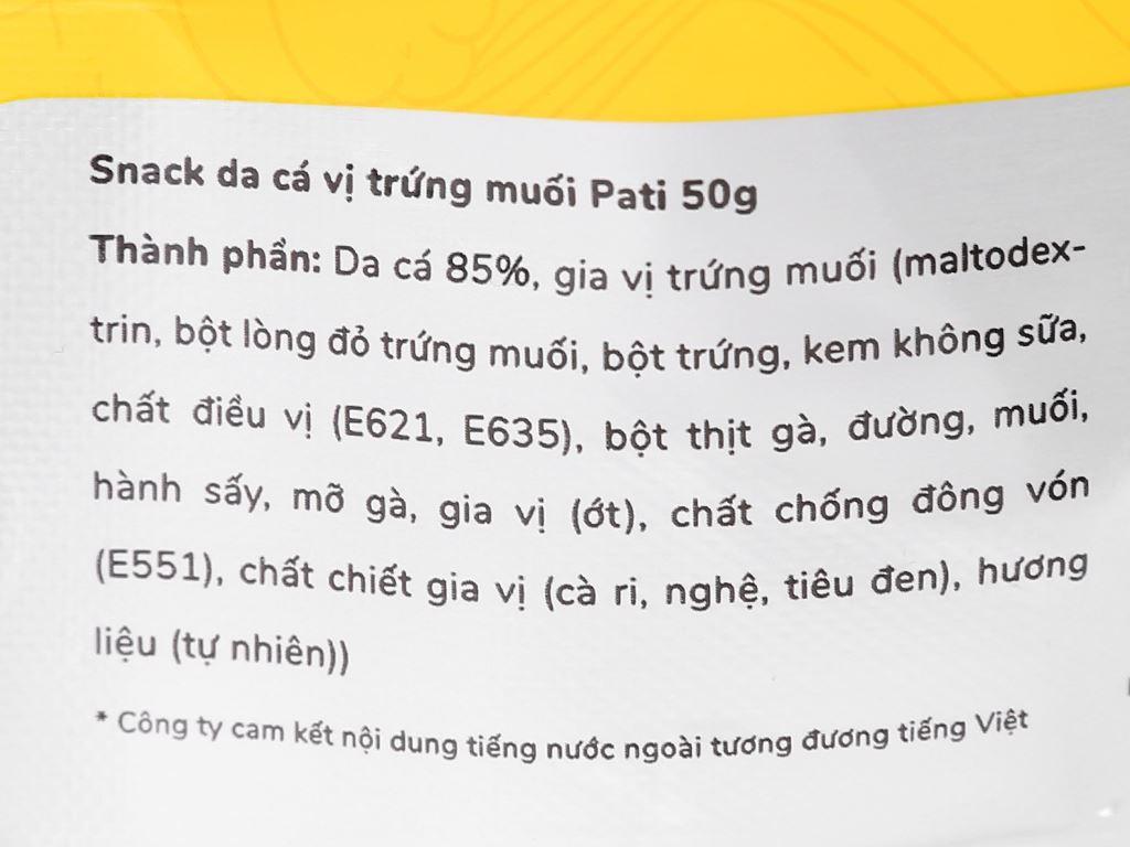 Snack da cá vị trứng muối Pati gói 50g 3