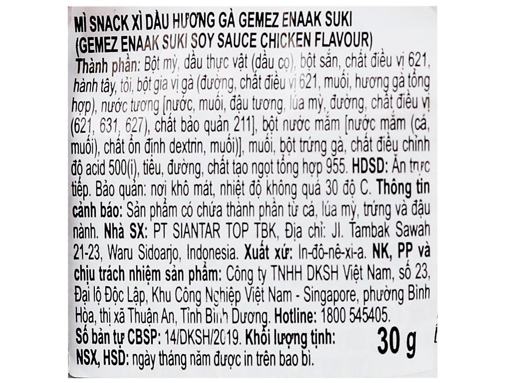 Snack mì xì dầu hương gà Enaak Gemez Enaak Suki gói 30g 3