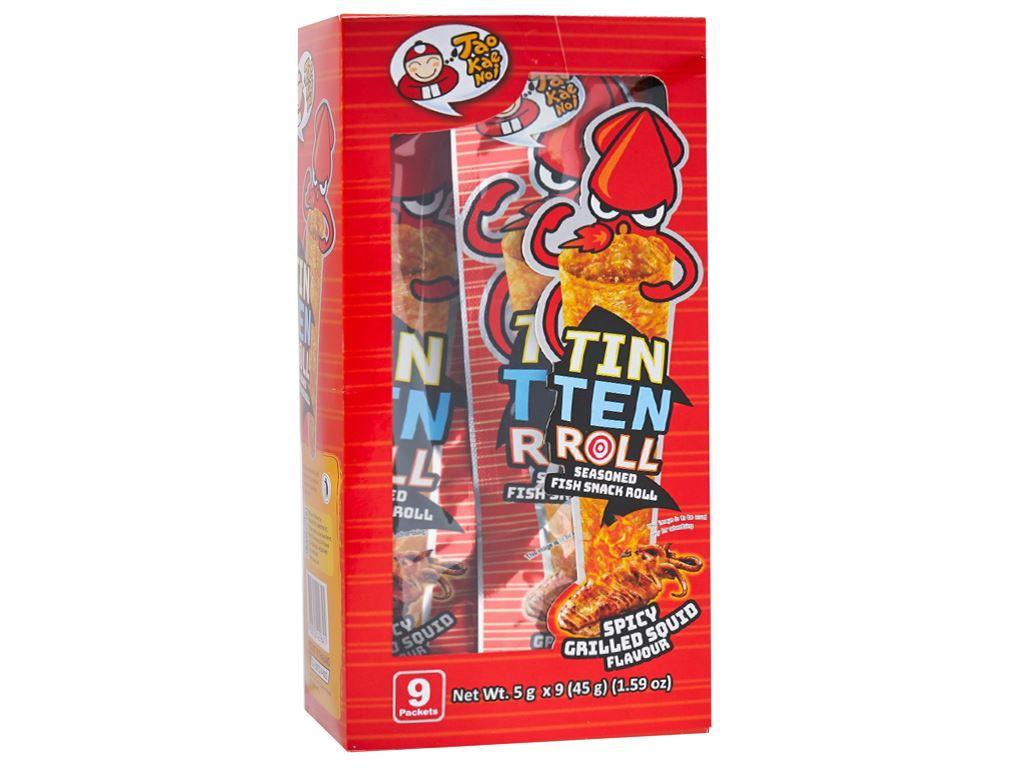 Hộp 9 gói Snack cá tẩm gia vị hương mực nướng cay giòn Tao Kae Noi Tinten 5g 1