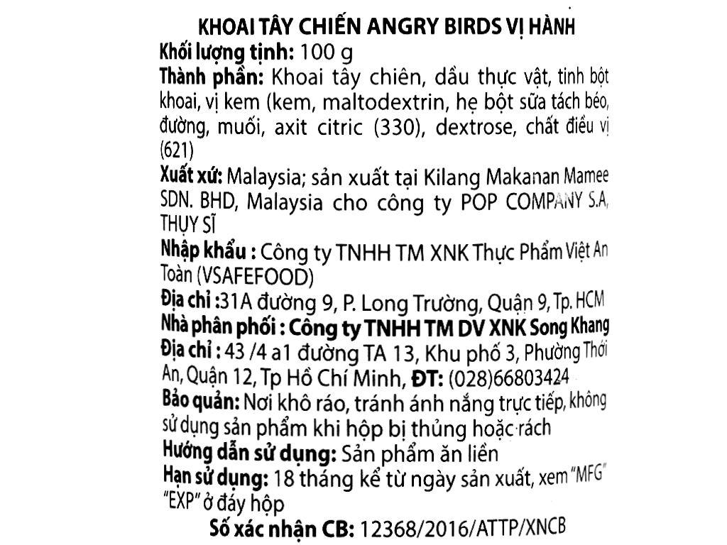 Khoai tây chiên Angry Birds vị hành lon 100g 4