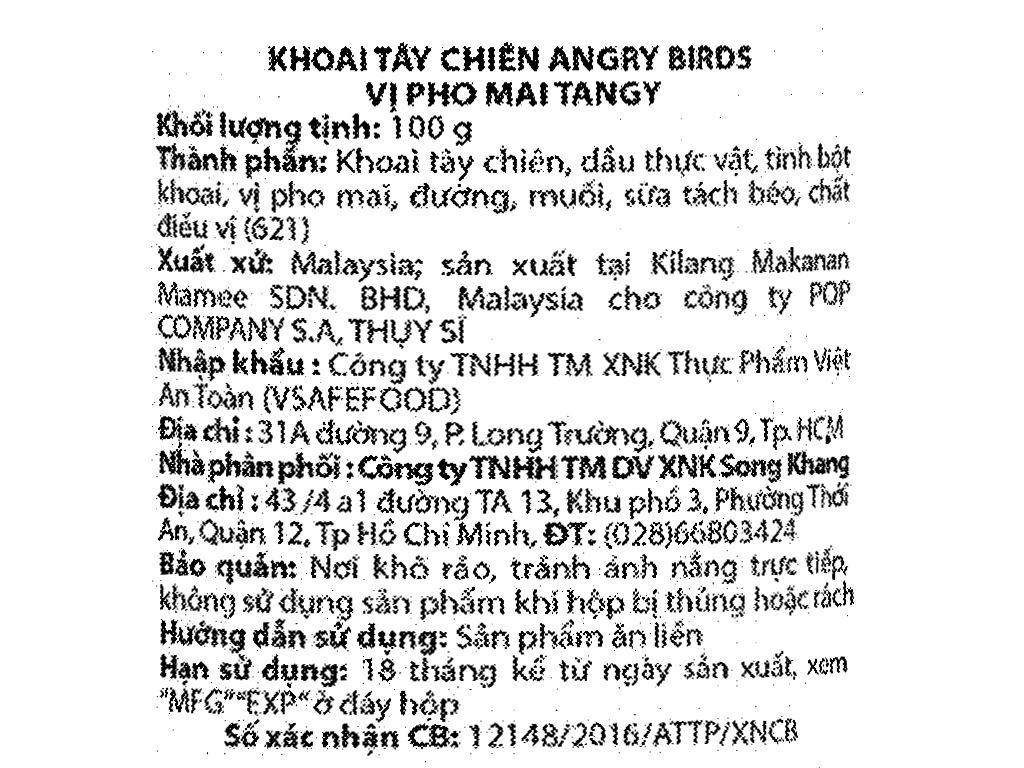 Khoai tây chiên Angry Birds vị phô mai lon 100g 4