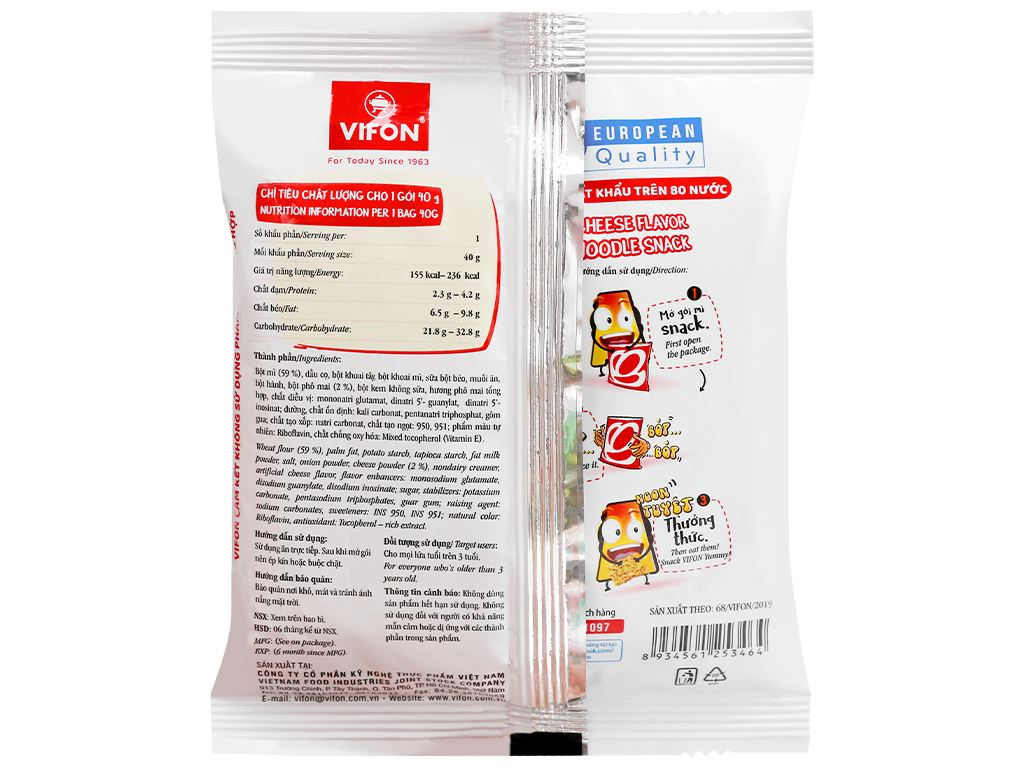 Snack mì vị phô mai Vifon gói 40g 2