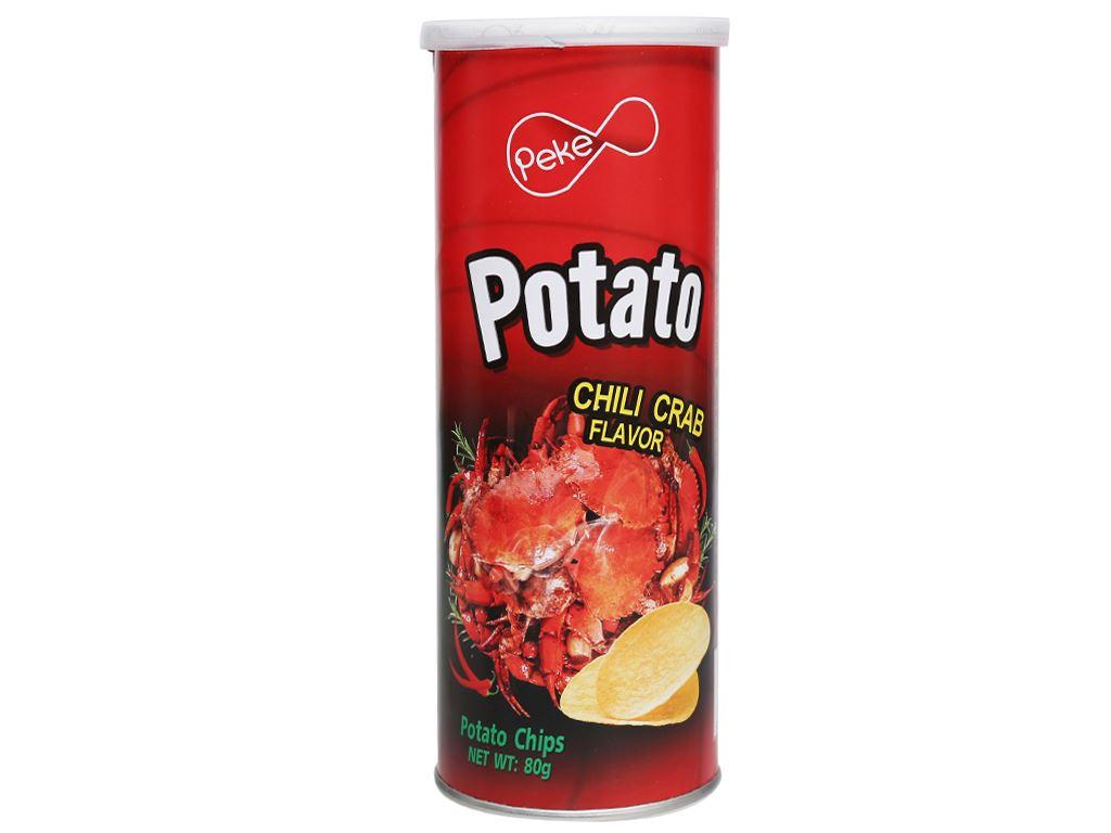 Snack khoai tây Peke Potato Chips vị cua xào ớt lon 80g 1