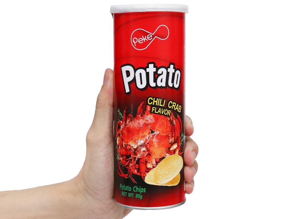 Snack khoai tây Peke Potato Chips vị cua xào ớt lon 80g 4