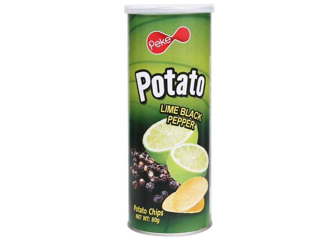 Snack khoai tây vị chanh tiêu đen Peke Potato Chips lon 80g 1