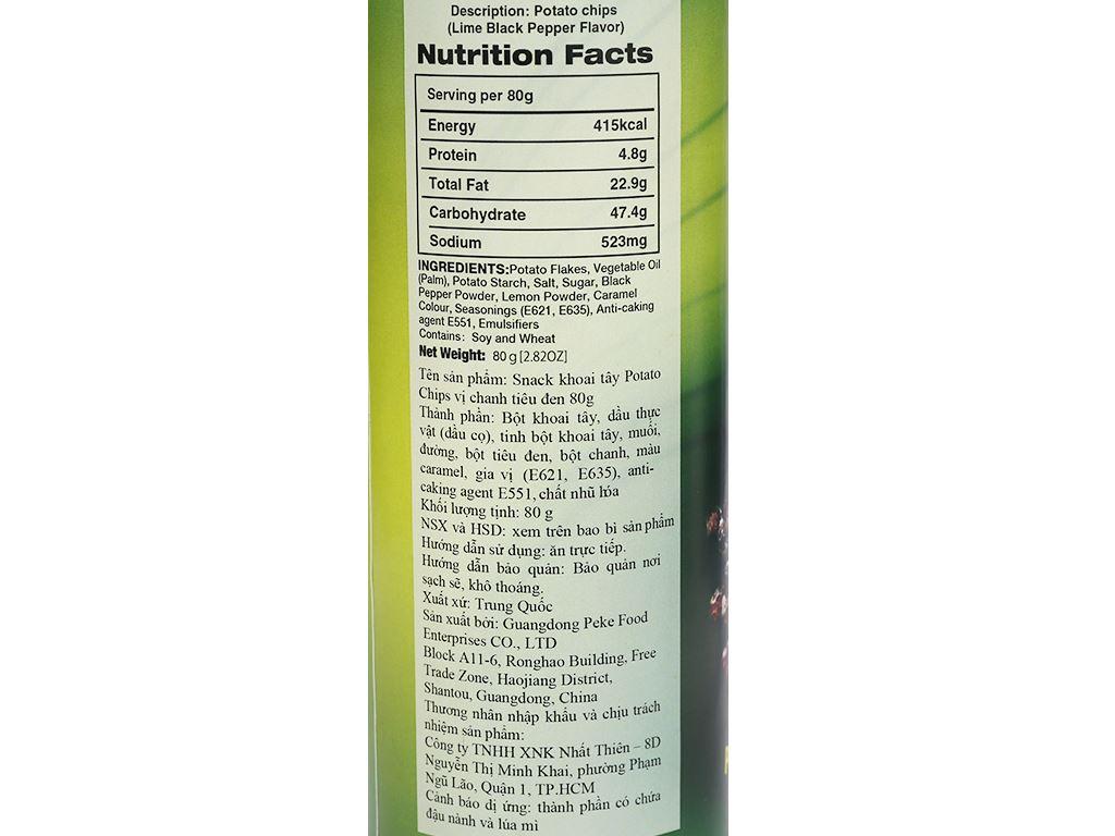 Snack khoai tây vị chanh tiêu đen Peke Potato Chips lon 80g 3